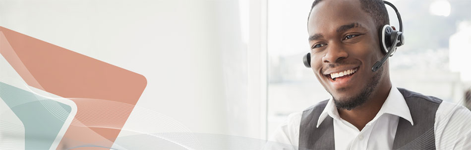 Image of smiling male call centre agent wearing a headset